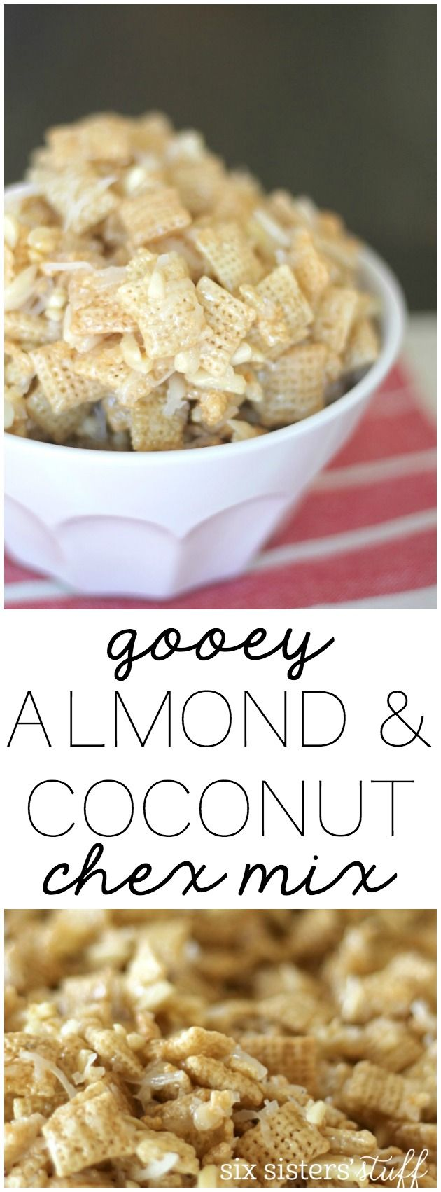 Gooey Almond and Coconut Chex Mix from SixSistersStuff.com. Perfect for holiday parties or neighbor gifts!