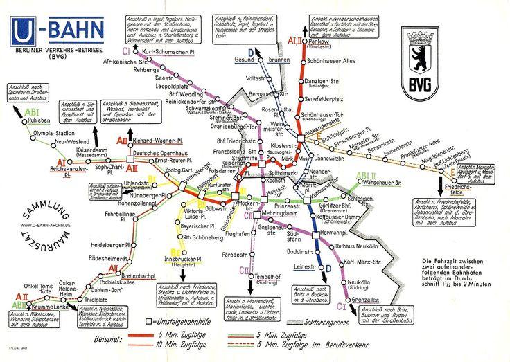 U-Bahn-Plan von 1956 (Taktdarstellung im Plan)