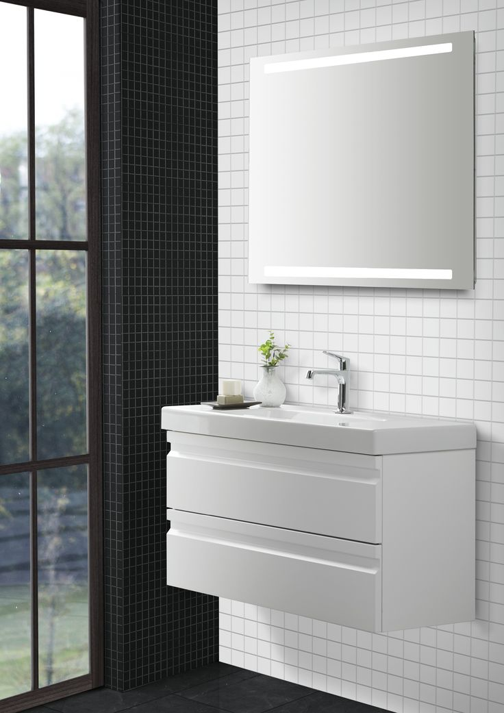 Mini Menuet with a projection of only only 36 cm as well as the matching furniture create room for storage in small bathrooms where space is at a vital premium.