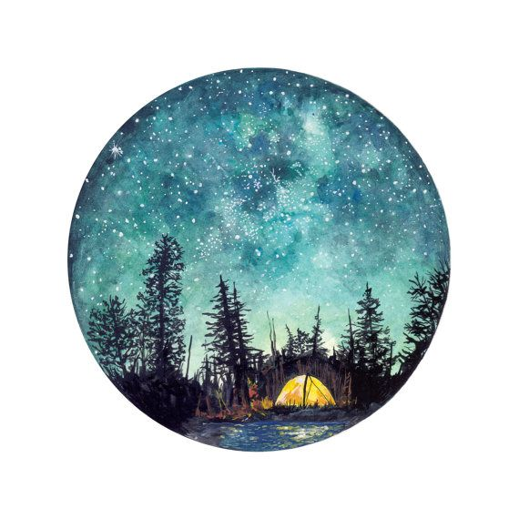 Impresión del arte Camping verano por StudioFactotumUK en Etsy