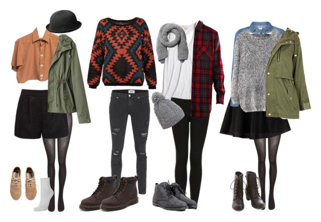 """Indie Concert Outfit Ideas (Cold Weather)"" by samsus ❤ liked on Polyvore featuring SELECTED, Forever New, kangol, Falke, H&M, Yumi, Paige Denim, Dr. Martens, True Religion and Topshop"