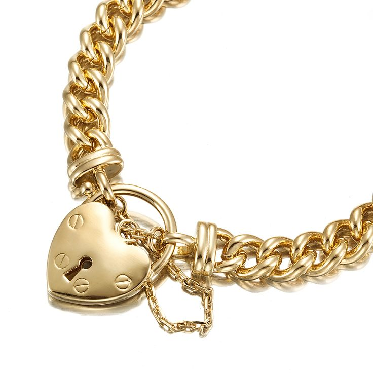18ct Yellow Gold Layered Curb Bracelet with Plain Locket | Allure Gold