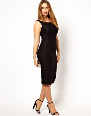 ASOS CURVE Lace Dress With Bardot Neckline in Longer Length