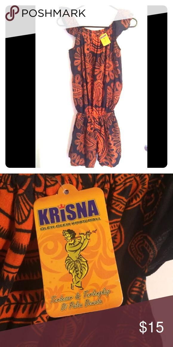 Women's romper from Krishna store in Bali It's so cute BUT I am not 100% sure what size it is.  I think it's a small or XS.  26.5 inches from neckline to crotch and the waist stretches from 20 to 26 inches comfortably (its elastic).  There is still more room at this size. krishna Pants Jumpsuits & Rompers