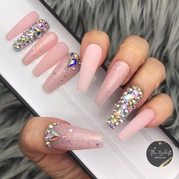 Shown Images Mixed With Matte Glitter And Jeweled Tips Based On Pastel Pink C Curved Long Coffin Shape In 2020 Glue On Nails Summer Acrylic Nails Trendy Nails