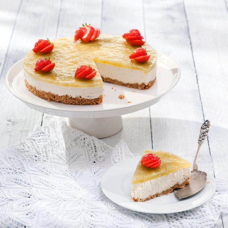 Raparperi-appelsiinijuustokakku | K-ruoka #cheesecake