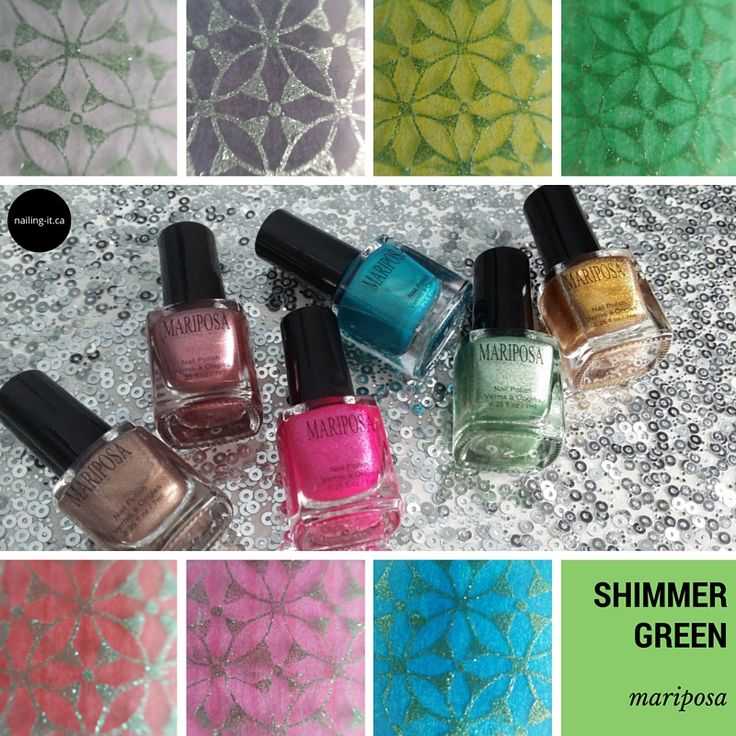 Wondering how #budgetbeauty nail polish brands stamp? Mariposa collection 018 is put to the test.  This is shimmer green from Collection 018.  #dollarama #discountbeauty #stamping #nailart