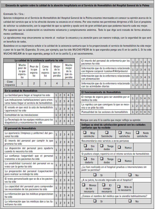 Satisfacción percibida por los pacientes en el servicio de hemodiálisis del hospital general de La Palma