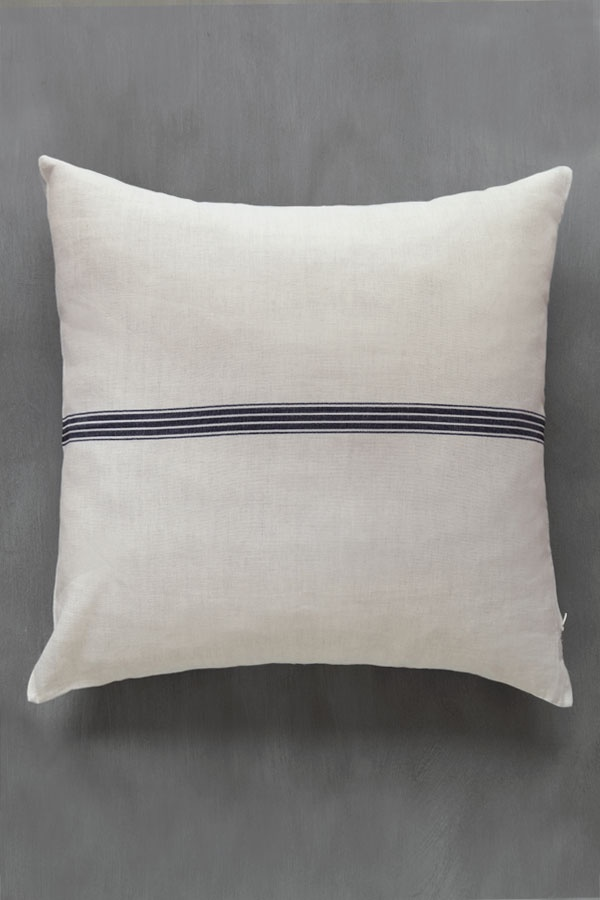 Provincial Stripe cushions. Perfect for the bedroom or living room. Pure fiber cotton and linen mix from Mungo.