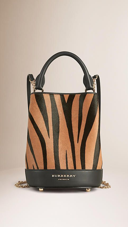 Pale redwood The Bucket Backpack in Animal Print Calfskin - Image 1
