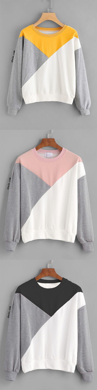 Cut And Sew Panel Drop Shoulder Sweatshirt