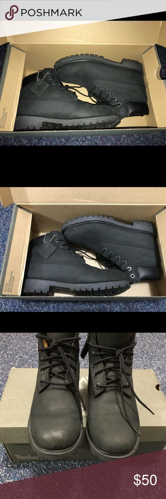 Youth Timberland boots Youth size 3 Black/slightly faded  Flaws on pics Timberland Shoes Rain & Snow Boots