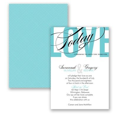 Bold typography in your choice of ink color accents this two-sided wedding invitation. #Typography #WeddingInvitations #DavidsBridal http://www.invitationsbydavidsbridal.com/Wedding-Invitations/Typography-Invitations/2947-DB35166-Typography-Tribute--Pool--Invitation.pro?&sSource=Pinterest&kw=Typography_DB35166