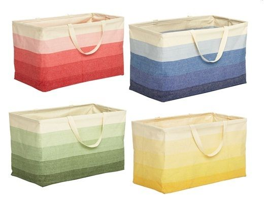 Want one of these $20 ombre baskets from The Container Store. I'm just thinking of all the things I could store in it… laundry, magazines, dog toys, beach stuff, picnics, throw blankets, cleaning supplies, crafts, etc. Sold. Getting the coral-colored one.