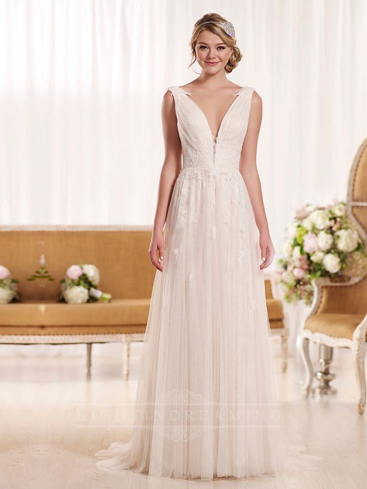 Plunging Neckline Sheath Vintage Wedding Dress