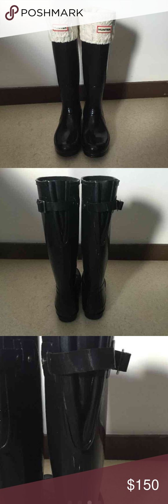 Wide Calf Hunter Boots Socks & Cleaner Tall Black Glossy Hunter Boots  Great condition, worn a few times and decided I don't like how they look on me One scuff on back, can probably be covered Adjustable buckles  Cream colored Hunter boot socks and Hunter cleaner $110 on merc, bundle and save! Hunter Boots Shoes Winter & Rain Boots