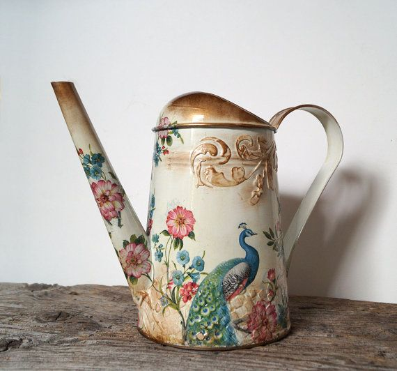 Peacock can Watering can decoupage can shabby chic by Malikdesign