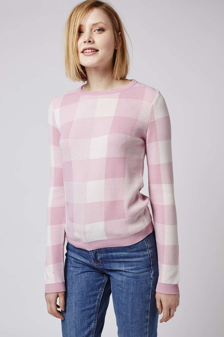 We're getting major 'Back to School' vibes from this cute gingham knitted jumper. #Topshop
