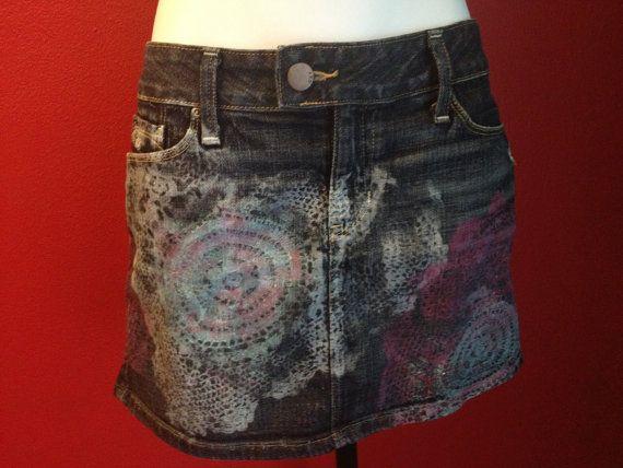 #Jean #GAP #Skirt, #CROCHET  #handprinted #doily #Pattern, Size 6, 28 #upcycle @Etsy @etsy_love @FashionBlogLove