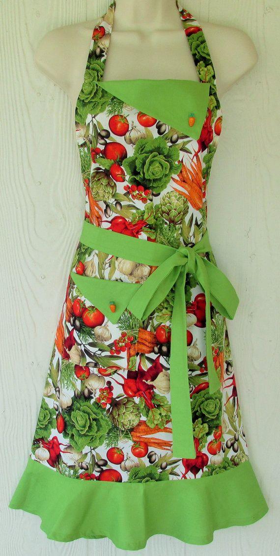 Vegetable Lover's Apron, Vegan Inspired, Women's Full Apron, Vintage Style, Retro Apron, KitschNStyle