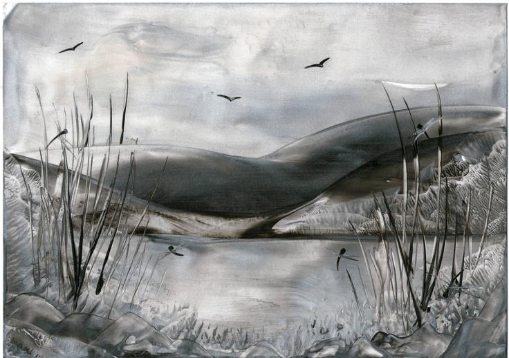 black and white lake one of my encaustic art painting