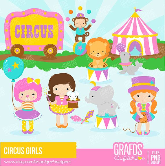 Digital Clipart Set, Circus Clipart, Clowns