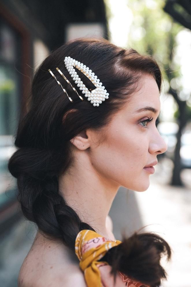 Pearl rhinestone cluster hair bobby pins set 2 gold tone metal