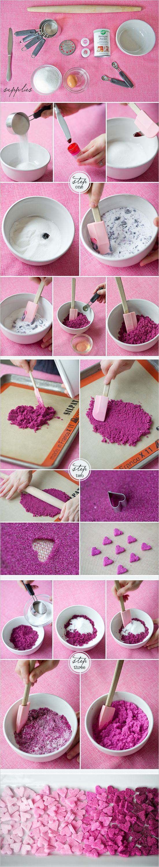 DIY Ombre Sugar Hearts How-To ~ could easily be used for a bridal shower, for wedding favors, as a special surprise for your sweetie on Valentine's Day or even on a wedding cake!