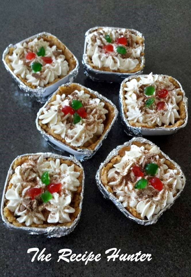 Ingredients Base: 1 ½ Packets of tennis biscuits 200g margarine Filling: 1 tin of Caramel 2 – 3 bananas 250ml fresh Cream 1 Chocolate Flake Base: Crush Tennis biscuits very finely. Melt margarin...