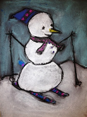 For the Love of Art: 4th Grade: Skiing Snowman made with pastels outlined with black oil pastel when finished