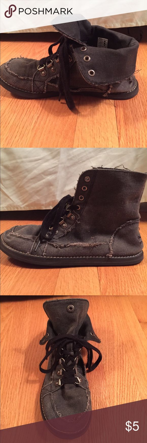 Rocket Dog sneaker booties Charcoal, lace up booties; they fold down and snap on the front or you can keep them up; fairly worn; some tearing, but repaired with Shoe Goo Rocket Dog Shoes Ankle Boots & Booties