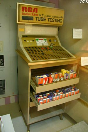 Self-service tube tester (c1950-60s) allowed TV owners to replace tubes at corner grocery stores.
