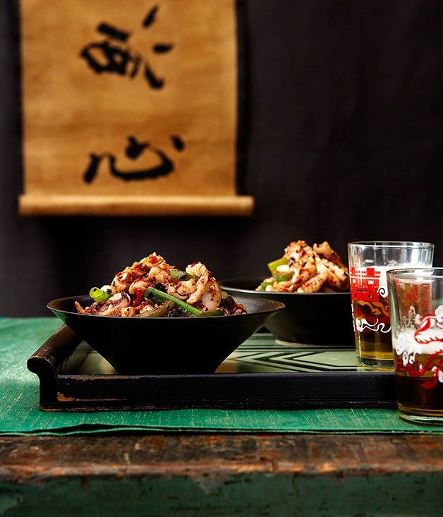 Australian Gourmet Traveller recipe for stirfried calamari with chilli and black bean sauce by Tony Tan