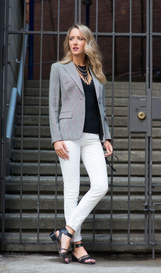 grey blazer, navy blouse, white pants: