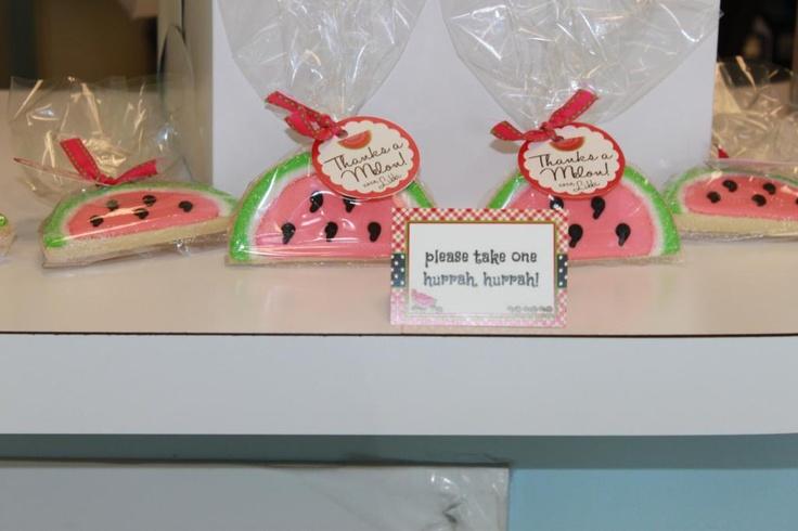 "party favors. please take one, ""hurrah, hurrah!""  (thanks a melon!)"