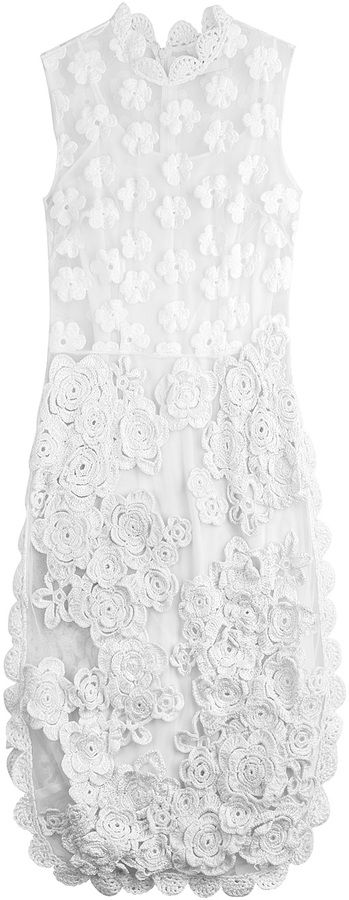 Simone Rocha Embroidered Dress with Crochet Flowers