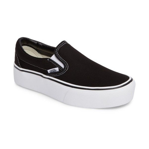 Women's Vans Platform Slip-On Sneaker ($55) ❤ liked on Polyvore featuring shoes, sneakers, canvas shoes, vans sneakers, white platform shoes, white slip on sneakers and platform canvas sneakers
