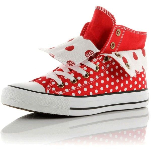 Converse All Star Two Fold Hi ($69) ❤ liked on Polyvore featuring shoes, sneakers, converse, tenis, sapatos, women, hi tops, high top trainers, polka dot sneakers and foldable shoes