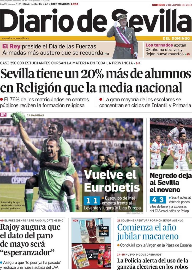 Los Titulares y Portadas de Noticias Destacadas Españolas del 2 de Junio de 2013 del Diario de Sevilla ¿Que le parecio esta Portada de este Diario Español?