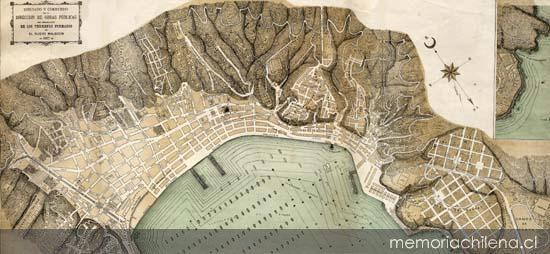 Plano de Valparaíso: Dibujado y corregido por la Dirección de Obras públicas con la demarcación de los terrenos formados en el nuevo malecón.