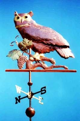 Great Horned Owl Weather Vane with Grapes by West Coast Weather Vanes. This…