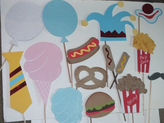 carnival themed  PHOTO BOOTH PROPS by flutterbugfrenzy on Etsy, $27.25