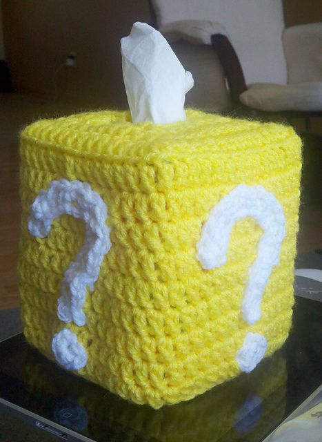 In my Ravelry Library: Super Mario Brothers Crochet Question Mark Block Tissue Cover pattern by Kristin Dragos