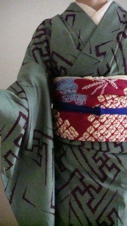 Key fret meisen kimono with shibori obi