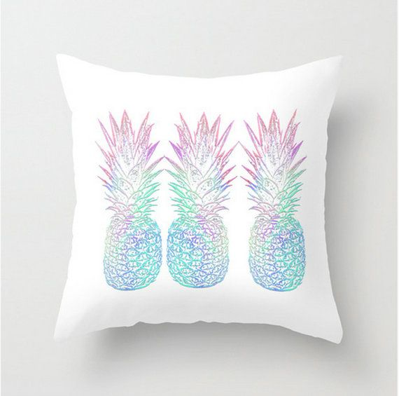 Pineapple Pillow Cover Aloha Watercolor Print Blue Pink Mint Green Square Pillowcase Throw Decor Home Beach Hostess Gift Preppy Summer