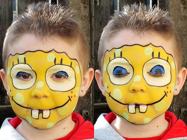 Video Tutorial Esempi Corso Face Painting Trucco Bimbo Make up online Maschera Carnevale Halloween: Esempi Come fare Spongebob video tutorial Truccabimbi