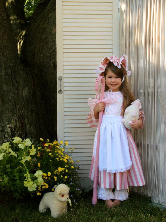 Little Bo Peep Costume Size 4 with Dress, Pantaloons, Apron and Hat Ready to Ship