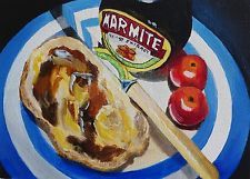 Marmite homemade bread tomatoes original stil life 0il daily painting S Mortimer