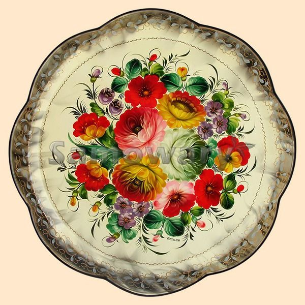 Tray Zhostovo Bouquet on beige
