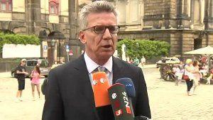Bundesinnenminister Thomas de Maiziere reagierte mit Entsetzen auf die Ausschreitungen und Plünderungen am Rande des G20-Gipfels in Hamburg. (Screenshot: Reuters)